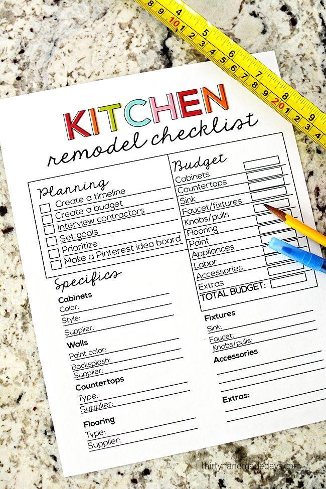 Kitchen Remodel Checklist Pinterest Free printable, Budgeting - Kitchen Renovation Checklist