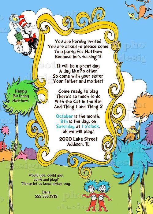 Diy Dr Seuss Printable Birthday Invitation Lorax Cat In The Hat 10 00 Via Etsy