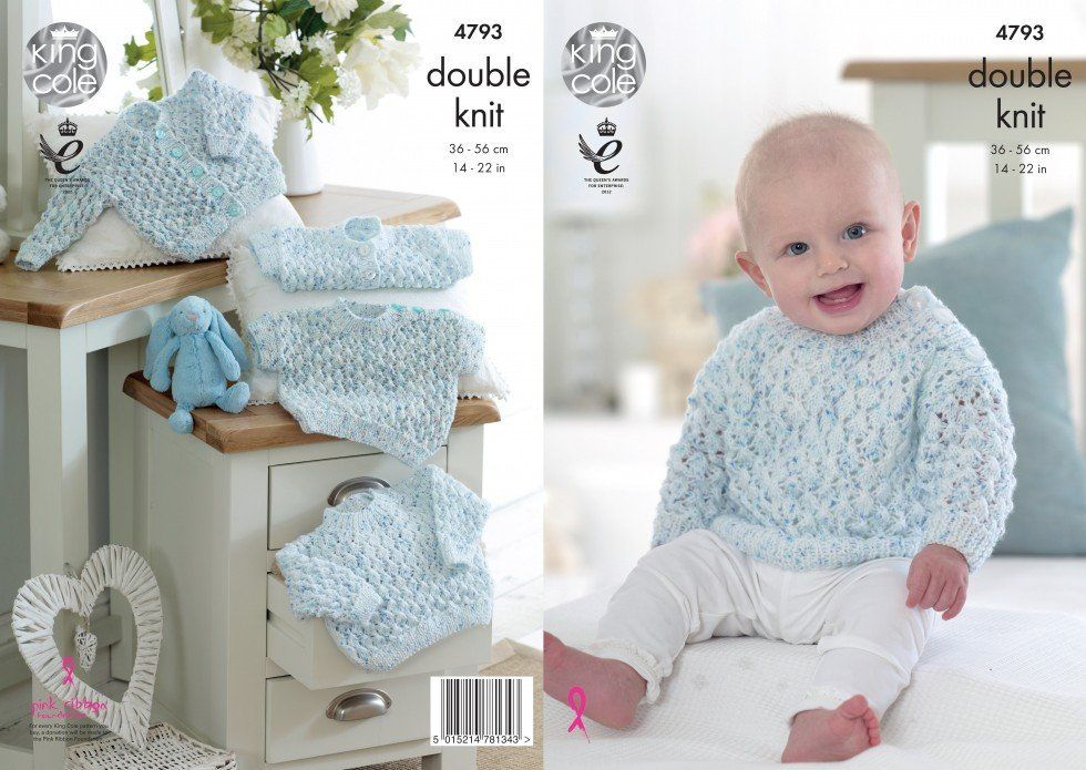 24ffdc858c0d King Cole Baby Sweaters   Cardigans Smarty DK Knitting Pattern 4793 ...