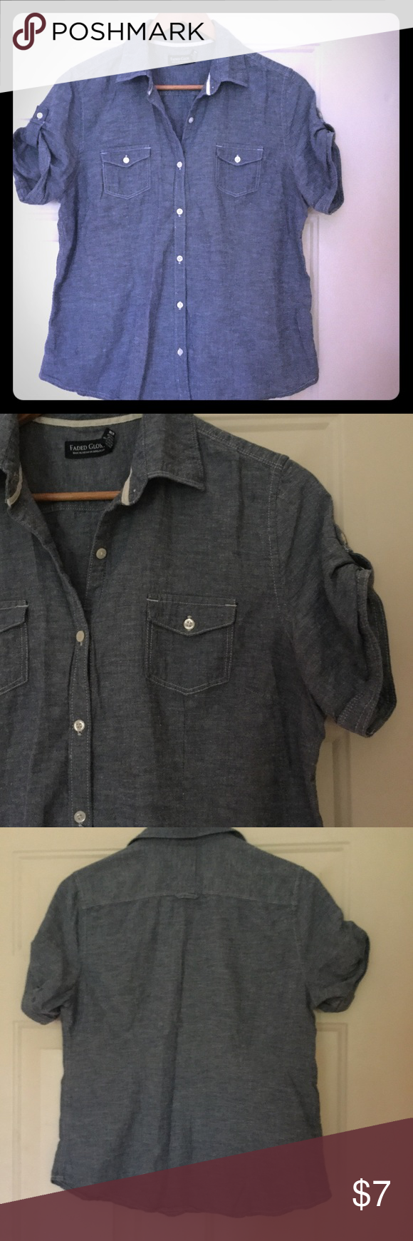 | Short Sleeve Chambray Button-down | Short sleeve.  Sleeve button detail.  Super cute and adorable over a dress for summer!  Great Condition.  Please let me know if measurements are needed! Faded Glory Tops Button Down Shirts