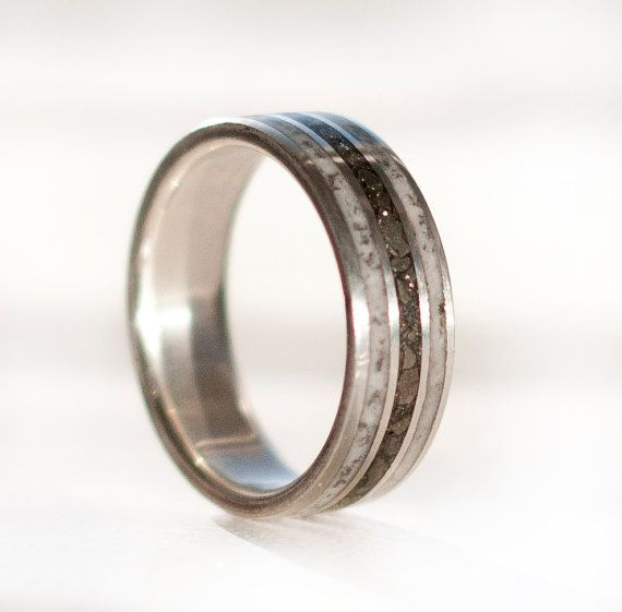 Mens Wedding Band Iron Ore And Antler Ring By Stagheaddesigns