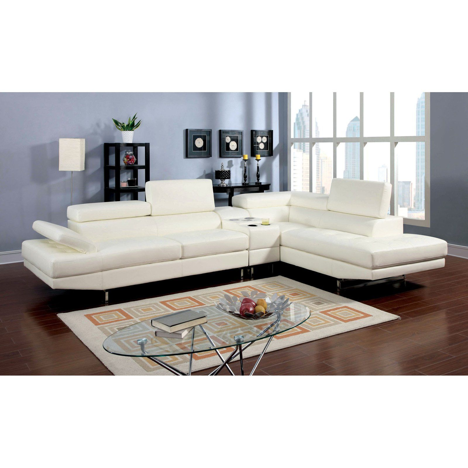 Furniture Of America Roselyn 2 Piece Sectional Sofa With Optional Console Frederick White Tufted