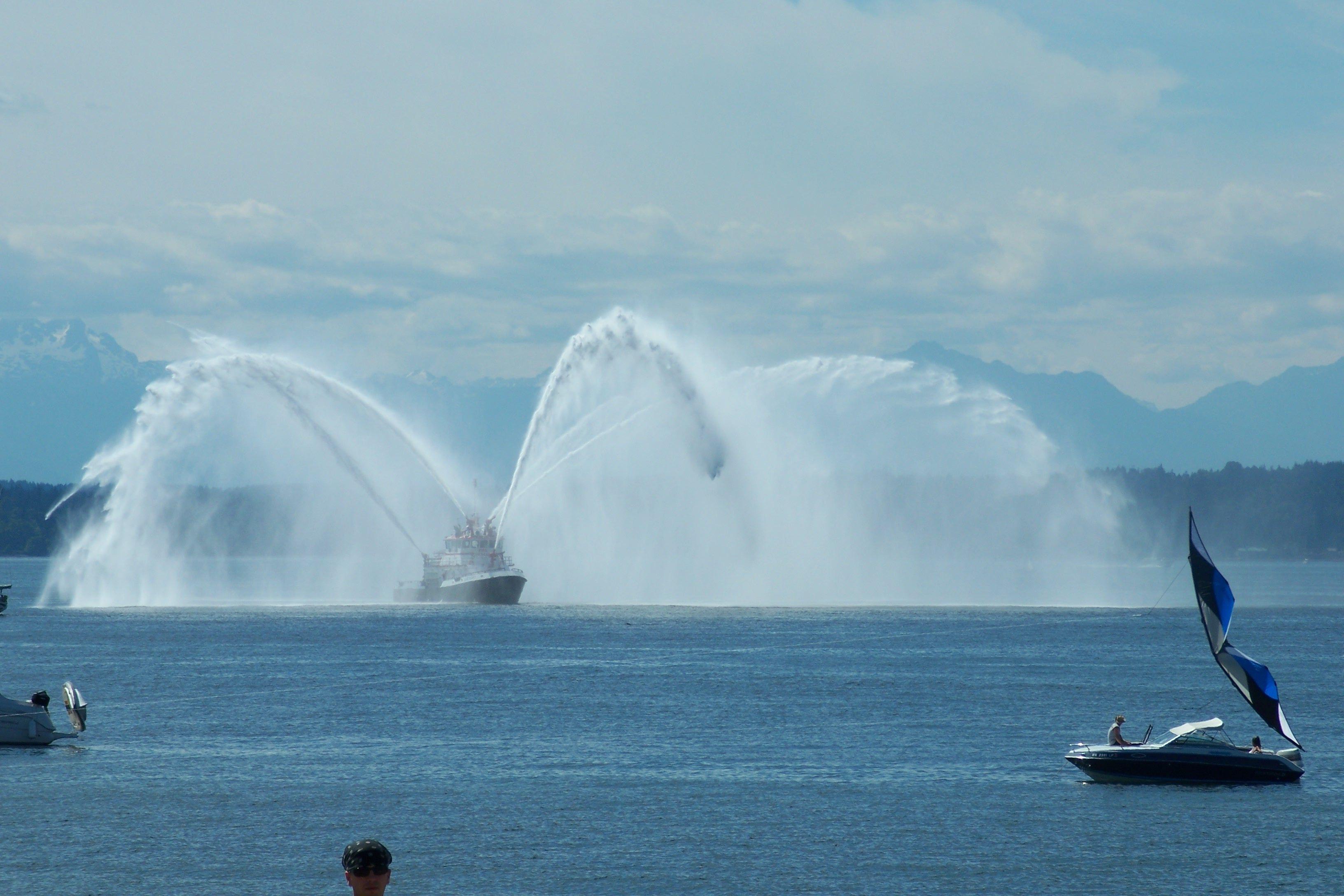 Alki Beach Fireboat Washington state, Beach, Seattle