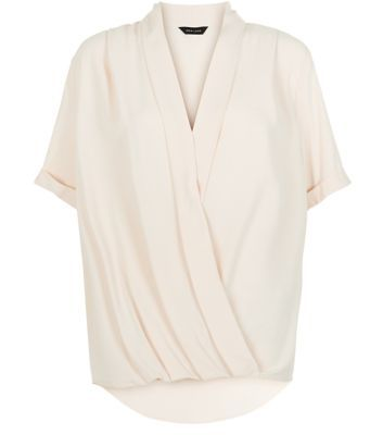 Shell Pink Wrap Front Wide Sleeve Top