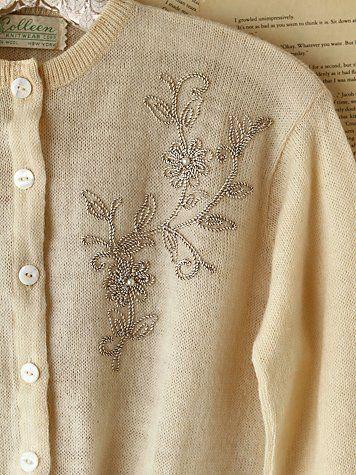Vintage Embellished Wool Sweater - so pretty, love it