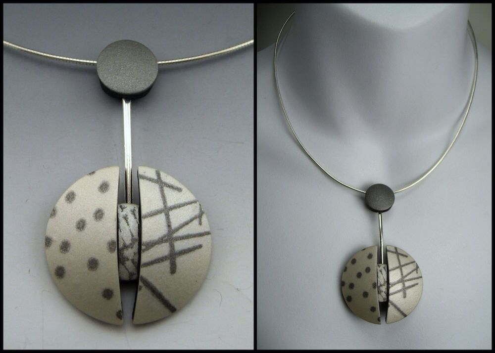 Modernist style polymer clay neckwire by Stonehouse Studio. www.stonehouse-studio.com