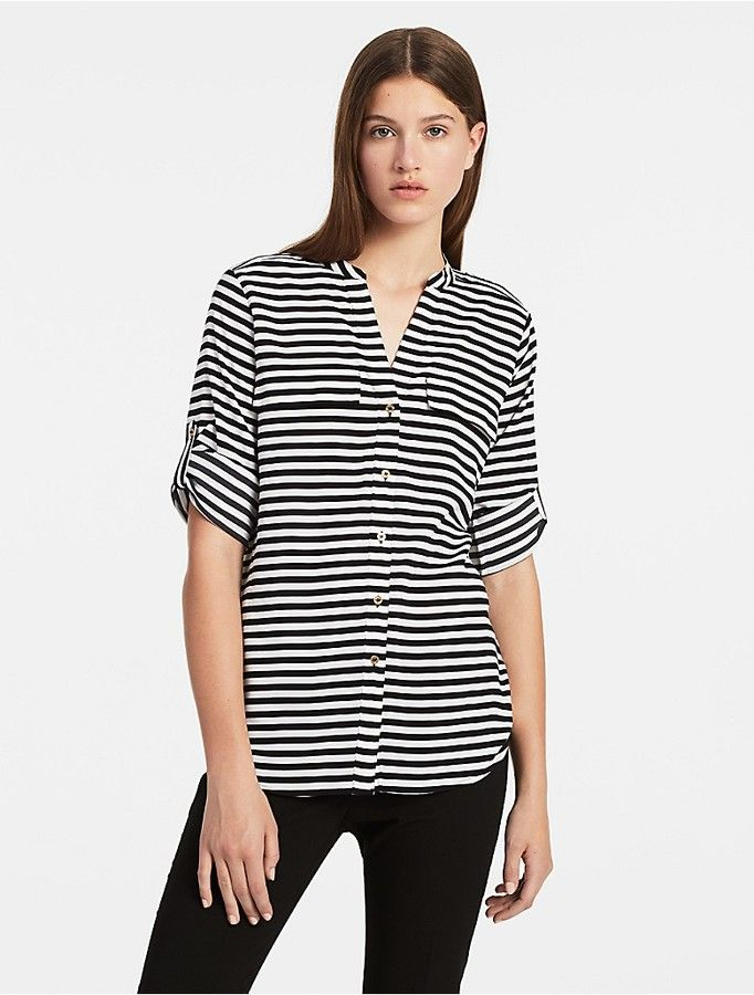 18dfe053a Calvin Klein Striped Roll-Up Sleeve Shirt | Black & white outfits ...