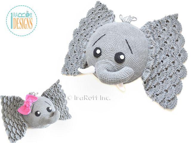 Josefina and Jeffery Elephant Pillow PDF Crochet Pattern   Elefantes ...