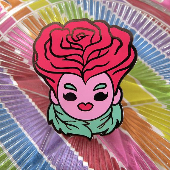 Rose Lady Enamel Pin
