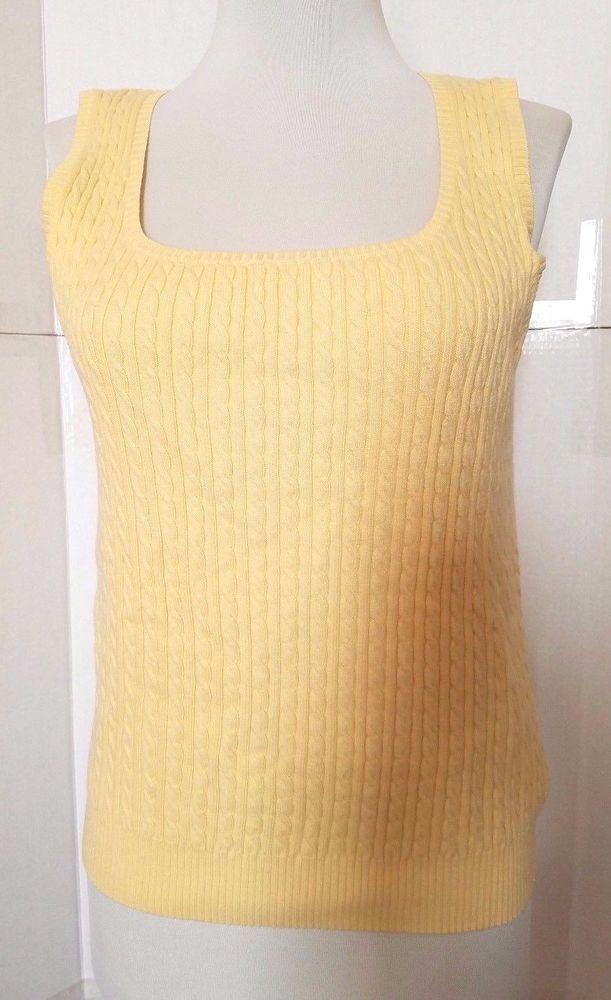 Lauren Ralph Lauren Womens Yellow Cable Knit Sleeveless Sweater