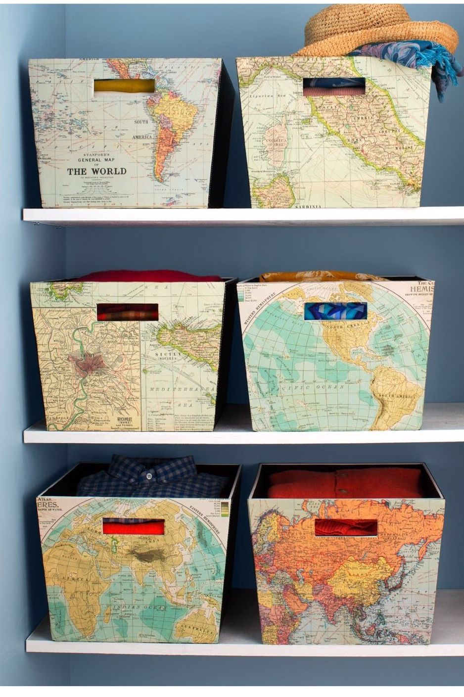 Trip memorabilia books or other paper that fits contents diy off the shelf storage bins using old maps matte finish mod podge glue which becomes transparent when dry a paint brush and a putty knife to smooth out gumiabroncs Image collections