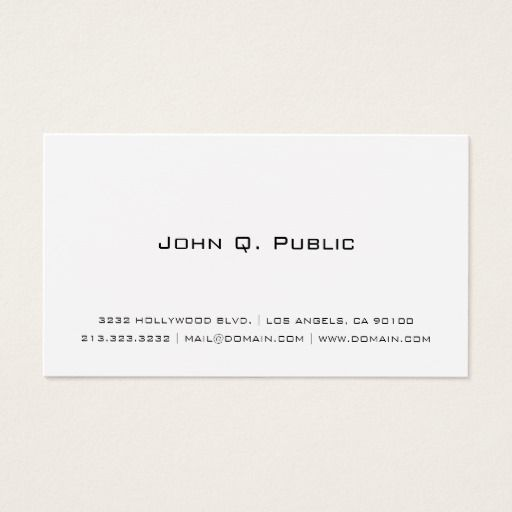 Professional Simple White Business Card Zazzle Com White Business Card Zazzle Business Cards Magnetic Business Cards