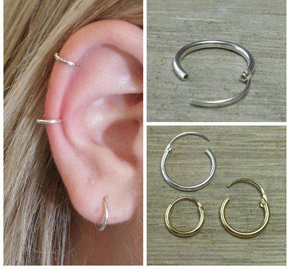 Cartilage hoop Small hoop earrings Gold hoop earrings 91870212be