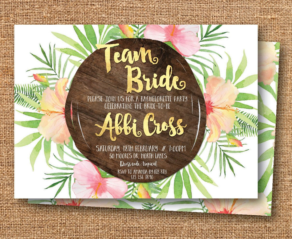 Tropical bachelorette invitation, bachelorette party invitation ...