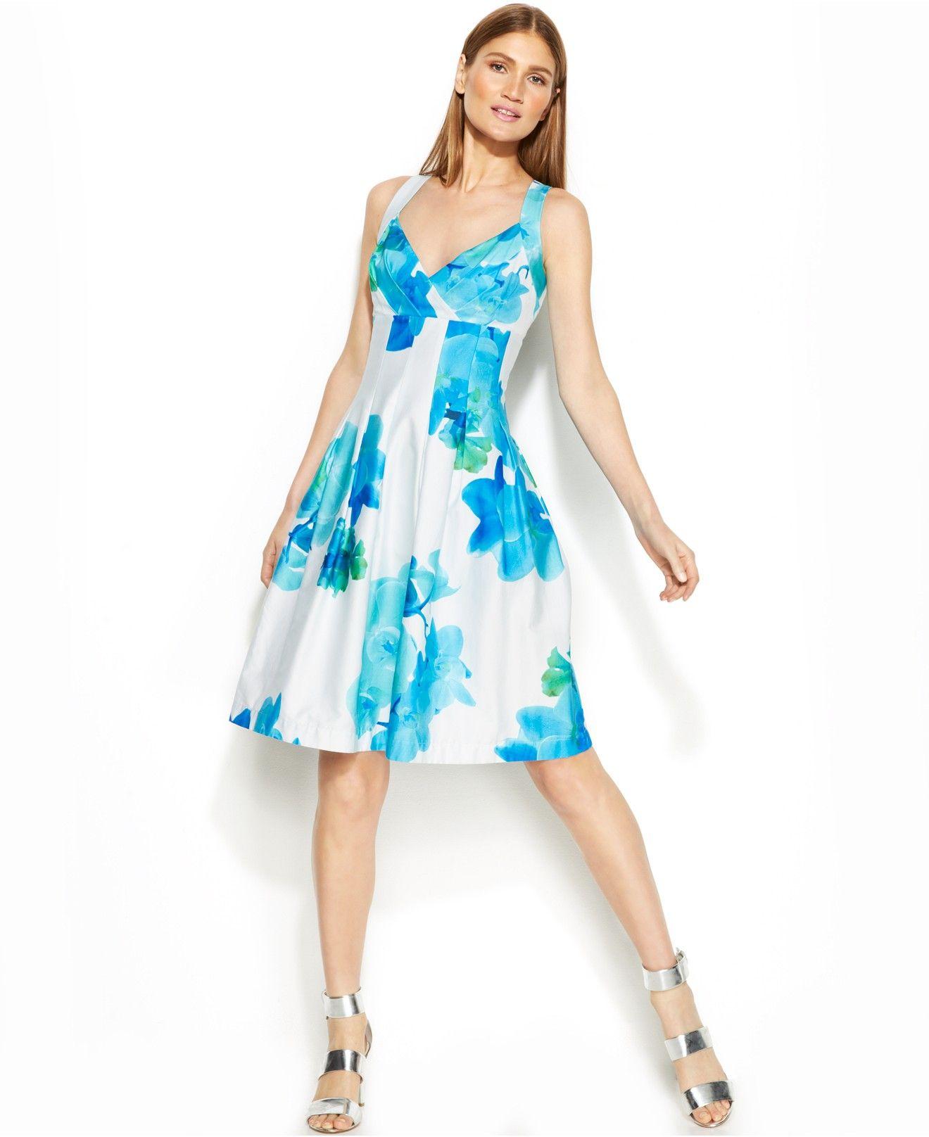 Calvin Klein Floral-Print Pleated Dress - Dresses - Women - Macy\'s ...