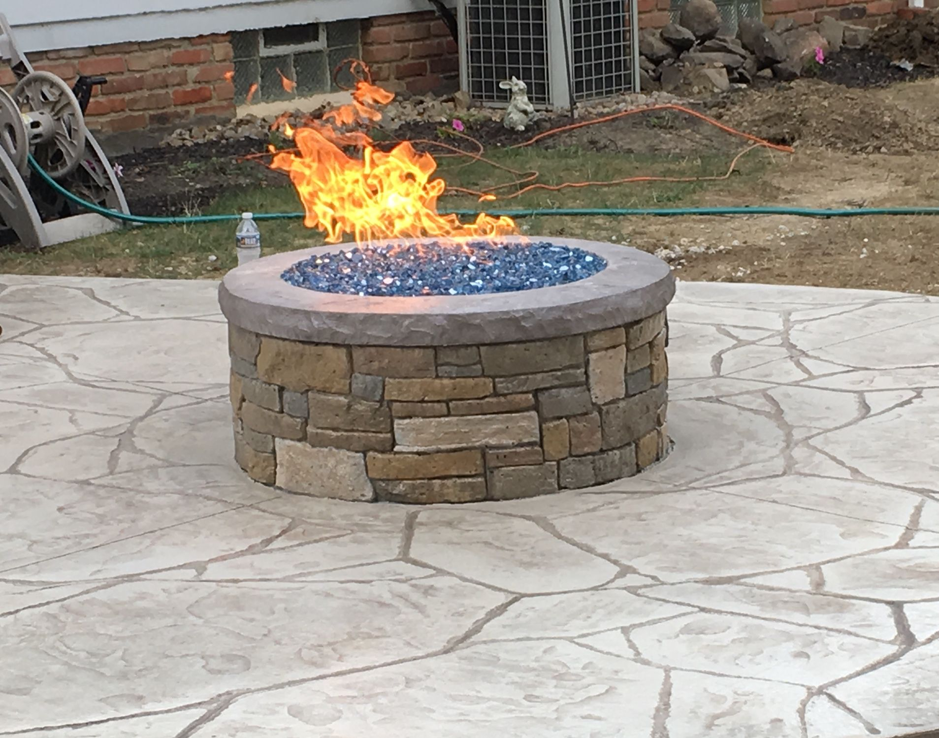 natural gas custom made fire pit with stainless steel burner and