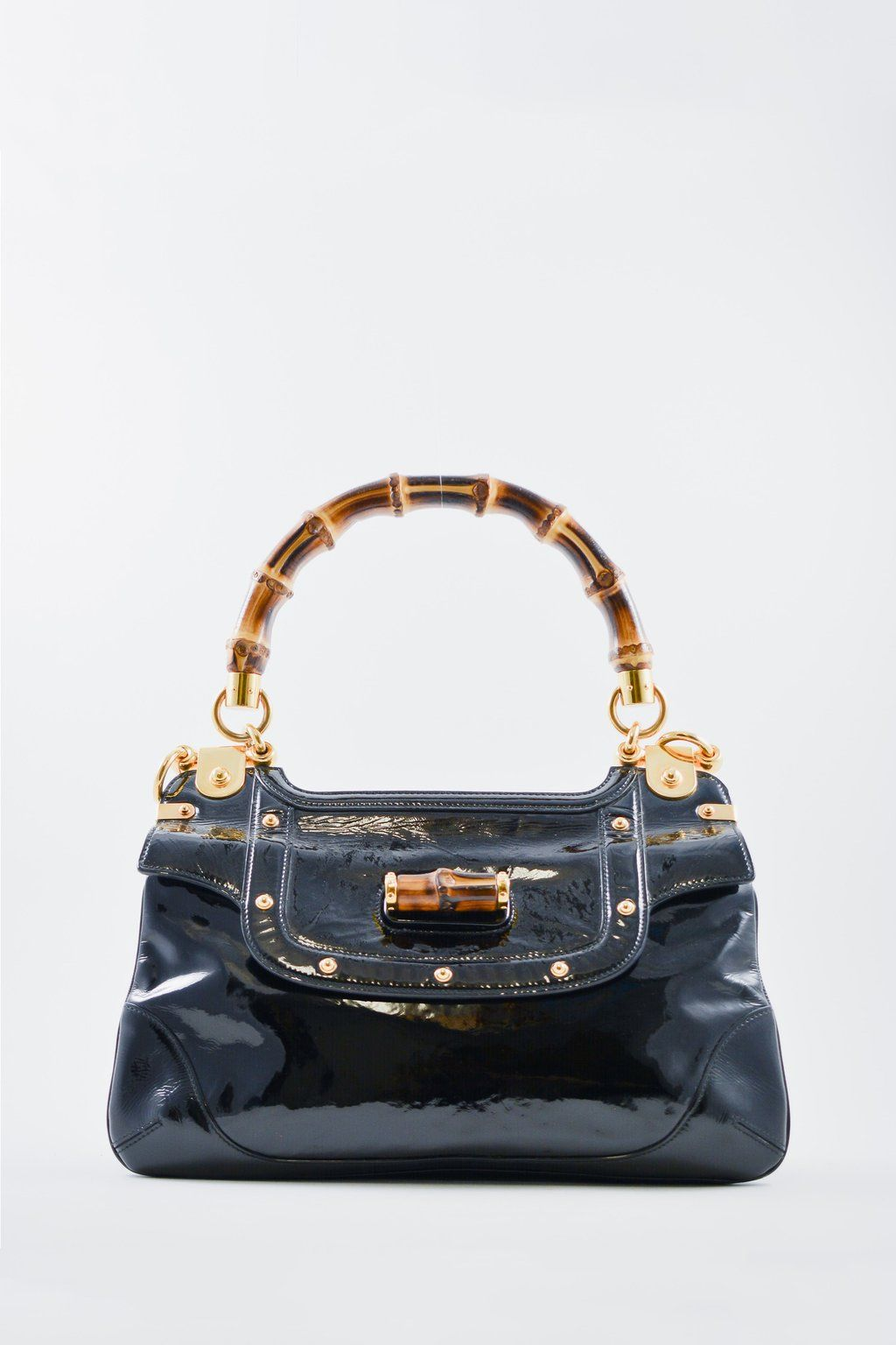 dbf77df120f0 Gucci Black Patent Handbag with Bamboo Handle  MineAndYours