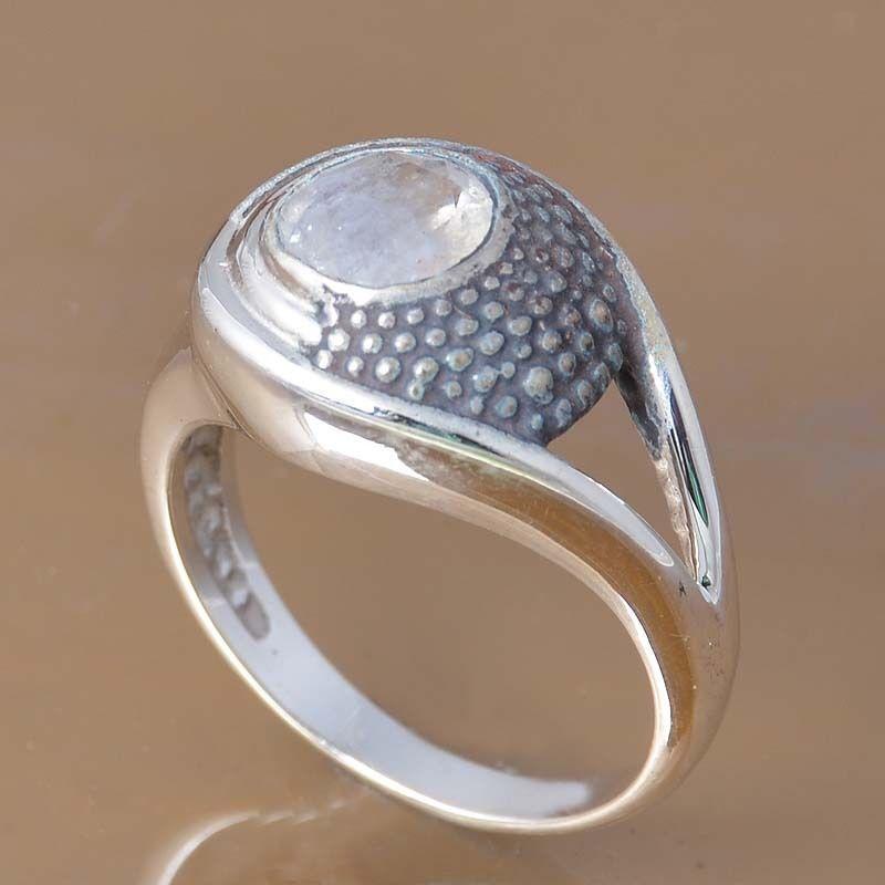 SOLID 925 STERLING SILVER MOONSTONE RING 5.28g DJR7355 SZ-7 #Handmade #Ring