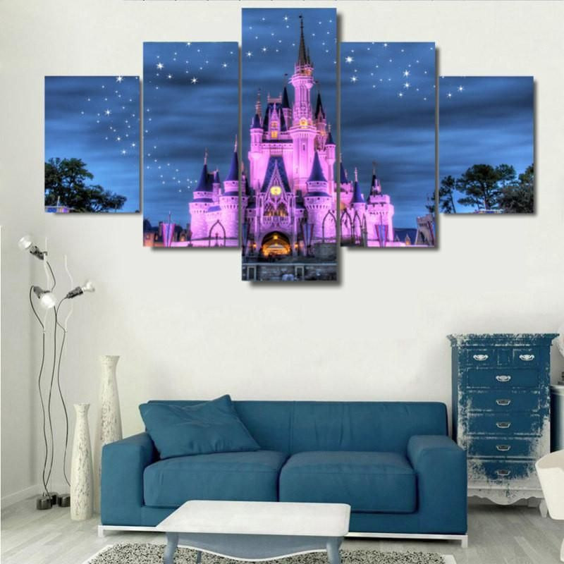 Disney Castle 5 Panel Framed Canvas Wall Art Disneyrooms Free Shipping Worldwide Disney Castle 5 Pane Disney Wall Art Disney Room Decor Disney Home Decor
