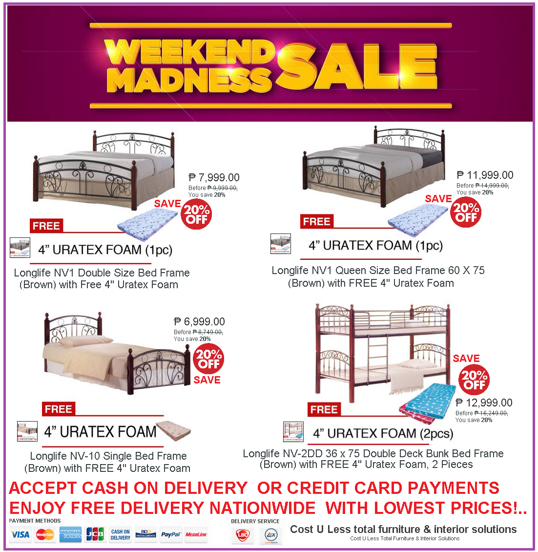 Avail 20 Off Discount On Bed Frame And Get 4 Uratex Foam For