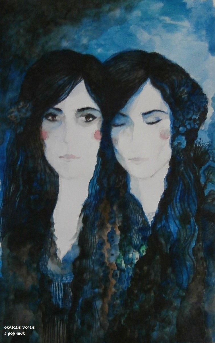 Monday June Les Amies Aquarelle En Bleu Et Noir Sur Papier