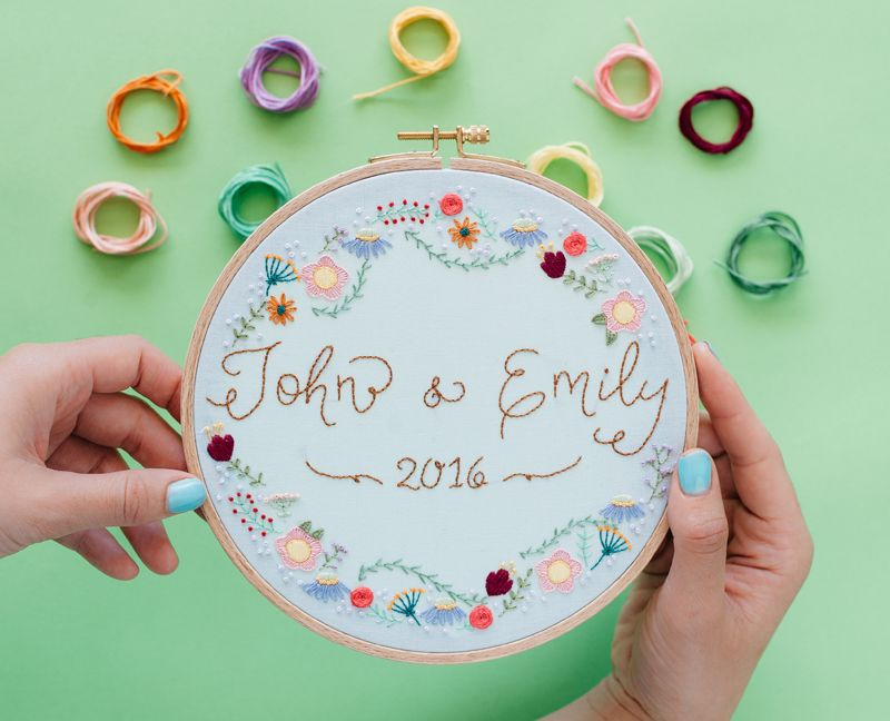 Embroidered Wedding Hoop   Embroidery - Floral & Borders
