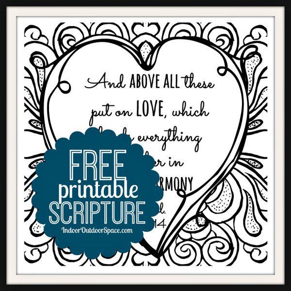 Free Valentines Scripture Verse Printable Coloring Page Indoor