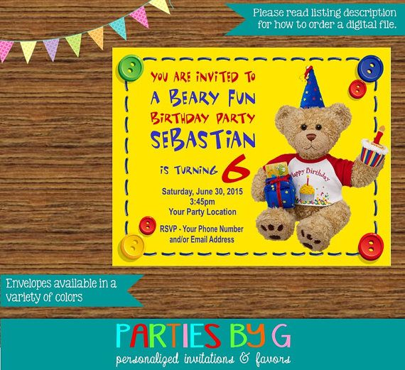 Build a Bear Teddy Bear Birthday Party Invitations by PartiesByG