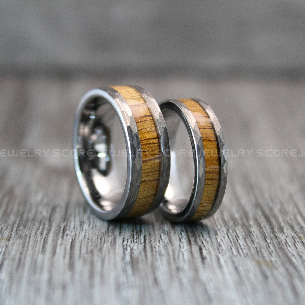 Hammered Bands Hammered Rings Tungsten Hammered Rings 2 Piece Couple Set 8mm /& 6mm Tungsten Bands Matte Hammered Finish Tungsten Rings
