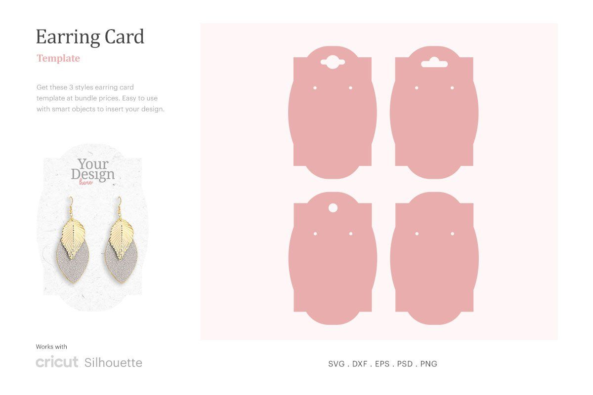 Earring Holder Card Template Earring Card Svg Dangle Earring Card Holder Earring Display Svg Cricut Silhouette Psd Svg Png Dxf Earring Display Earring Cards Display Cards