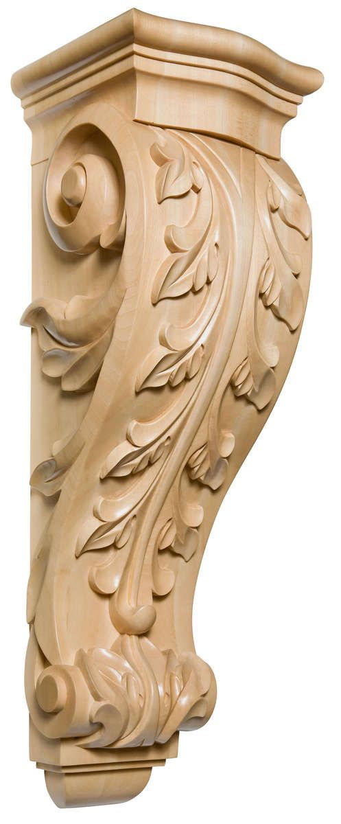 Handcarved Elements Handcarved Woodcarvings Corbels And Brackets 9 1 2 W X 34 H X 10 1 2 D X Large Acanthus Corbel Corbels Wood Sculpture Hand Carved Wood