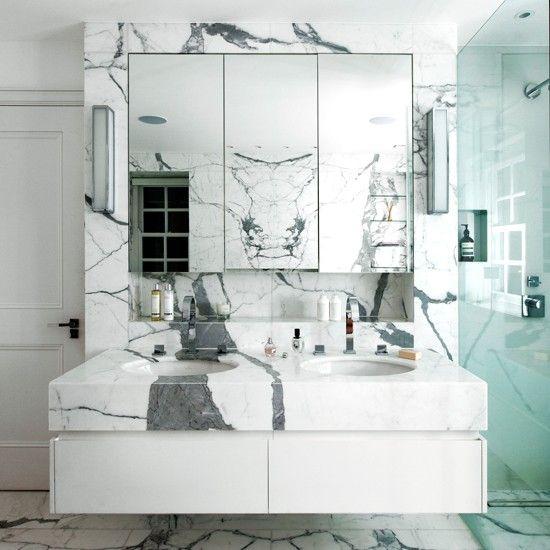 Gray Master Bathroom Ideas: White And Grey Marble Bathroom