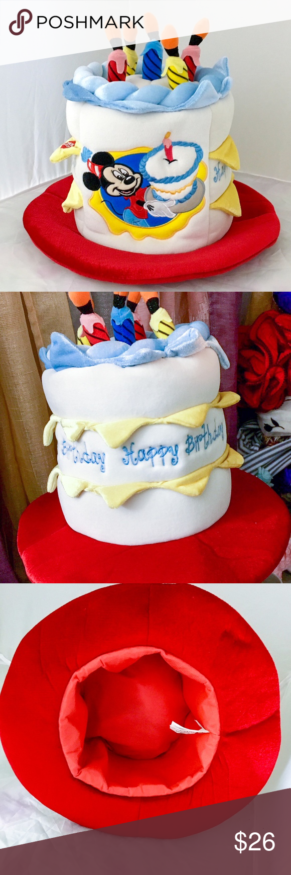 Disney Happy Birthday Cake Hat Fun In Shape Of A With Battery Operated