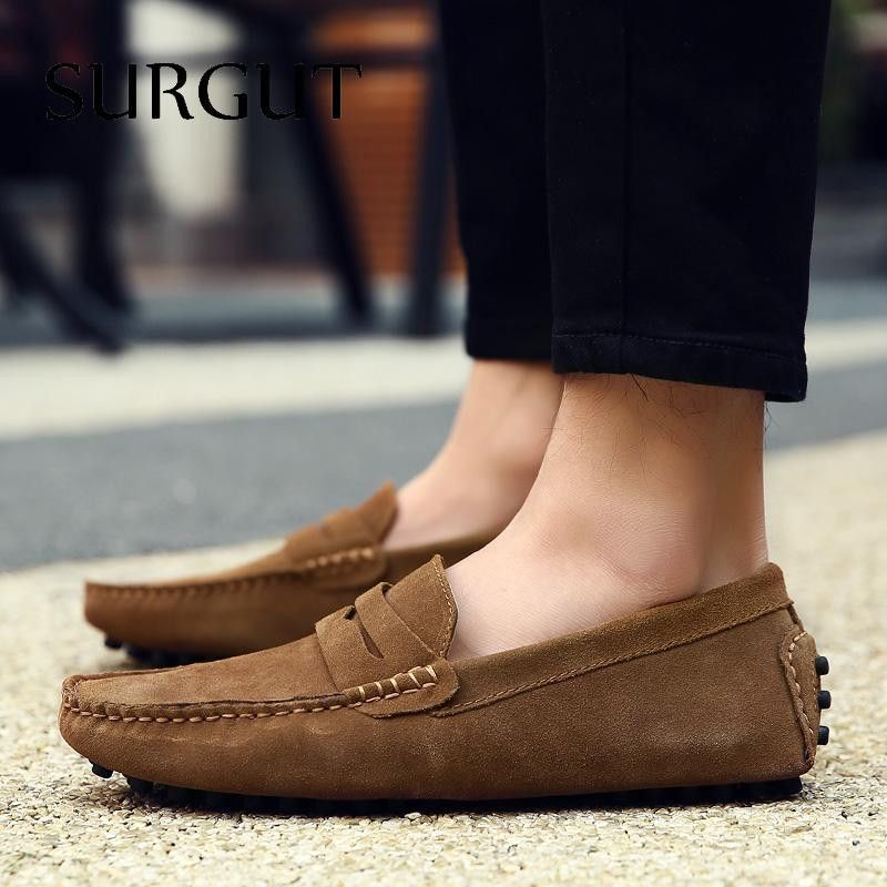 Fashion Moccasins Men's Loafers Leather Men Flats Driving Shoes