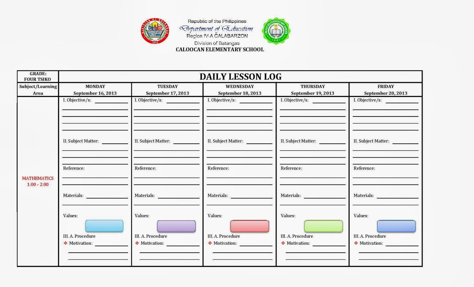 Daily Lesson Log Format  Worksheet    Lesson Plan