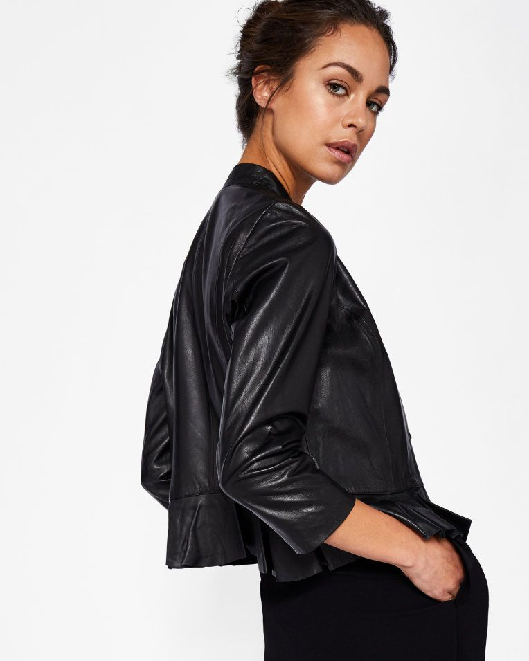 8c935b74923 Frill detail leather jacket - Black | Jackets And Coats | Ted Baker. Find  this Pin and more on GBY PRODUCT PHOTOGRAPHY ...