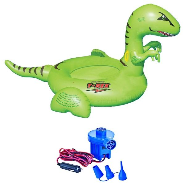 Swimline 90624 Pool Kids Giant Dinosaur Inflatable Float Toy W 12 Volt Air Pump Wish Inflatable Float Inflatable Pool Floats Dinosaur Inflatable Pool