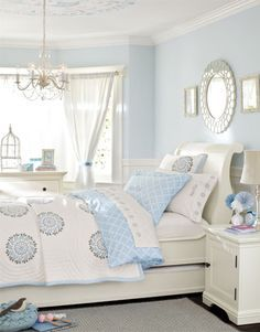 I Really Like This Room With The Decoration On The Ceiling And The Mirror  Reflecting The Circles On The Quilt. Super Cute Girls Room In Unexpected  Blue And ...