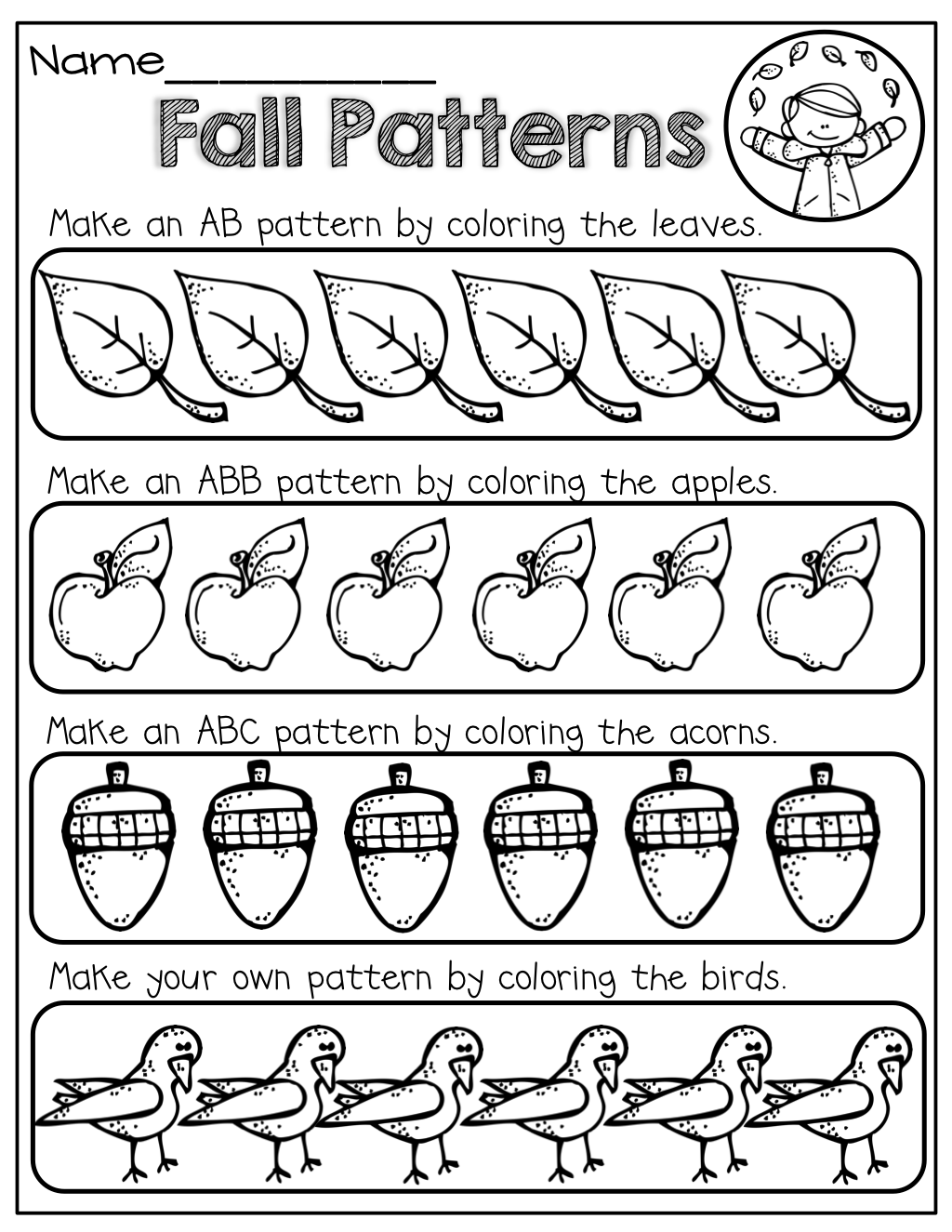 Color the fall patterns AB, ABB, ABC and make your own! | Math ...