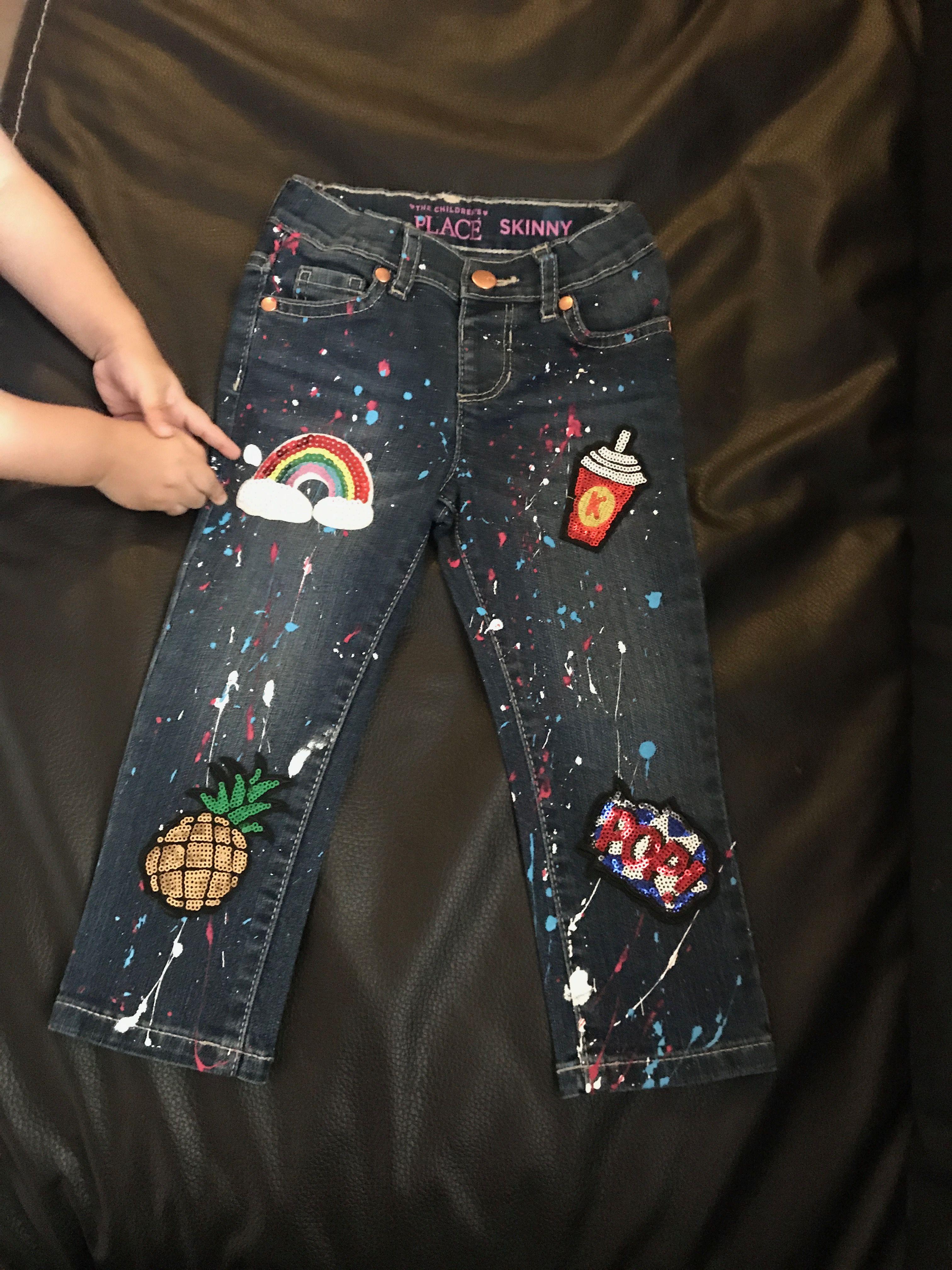 Pantalon De Mezclilla Con Brochazos De Pintura Textil Y Parches Muy Coloridos Y Llamativos Pantalones Con Parches Pantalones Para Ninos Pantalones De Mezclilla