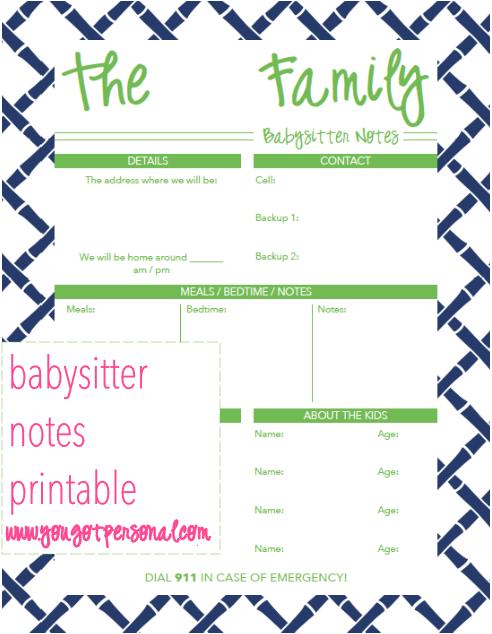 you got pessoal free printable babysitter notes