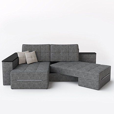 XXL Ecksofa mit Schlaffunktion 260 x 160 cm Grau - Eckcouch Relax - sofa für küche