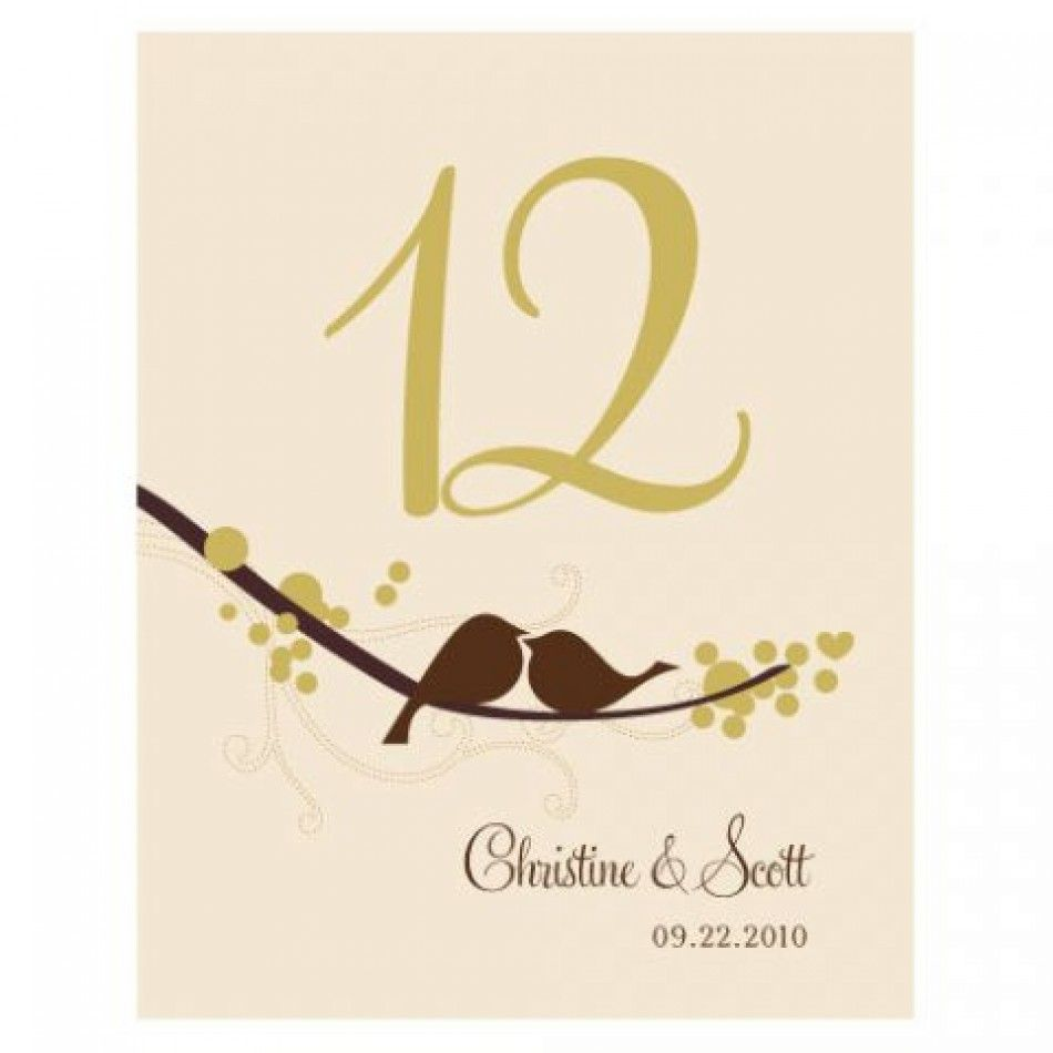 Love Bird Table Numbers (Numbers 1-96 Available) [1032-06 Love Bird ...