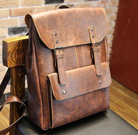 New women/men Leather Backpack ,shoulder bag, Leather messenger ...