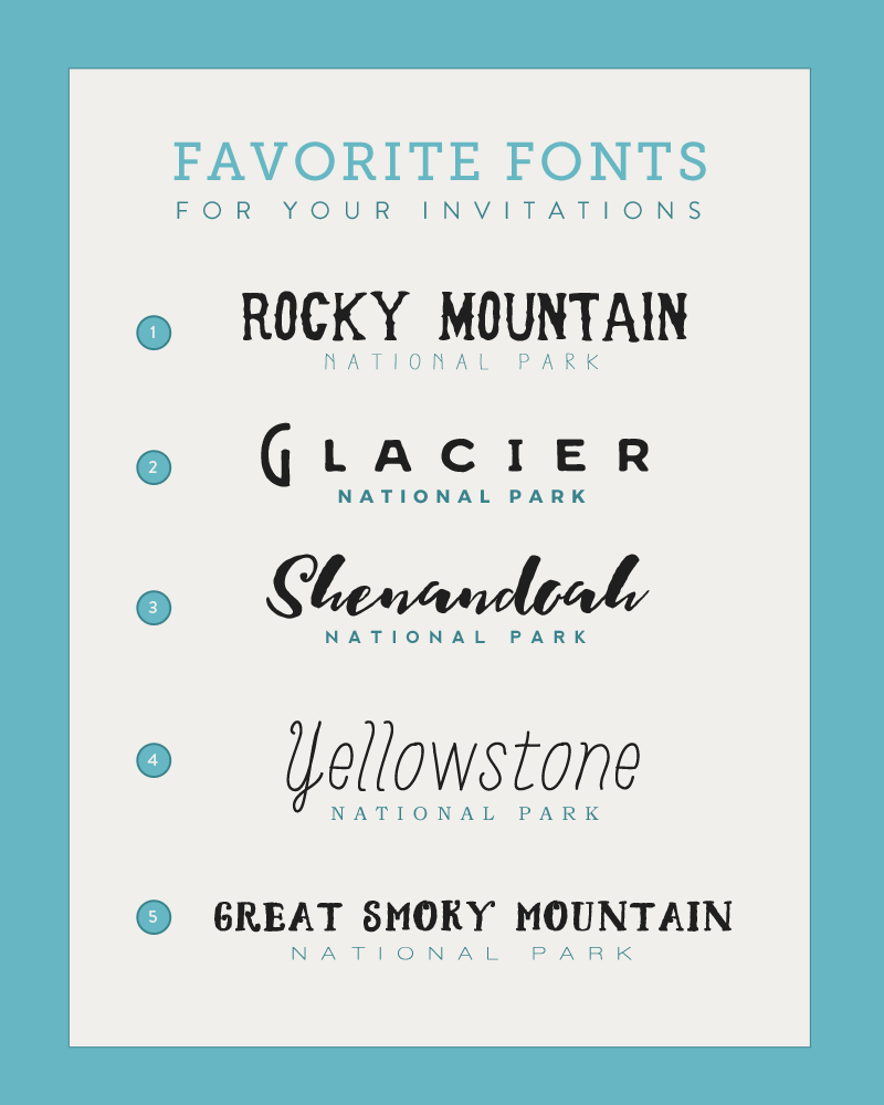 96 Fun Facts About Your Favorite Bridal Designers: Five Perfect Font Pairings For Your National Park Wedding