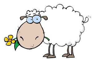 Sheep Clipart Image: Cartoon Sheep Eating A Flower