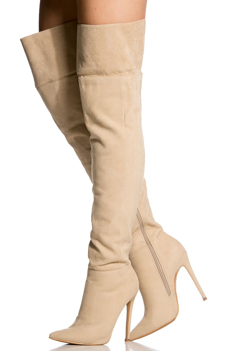 Nude Faux Suede Pointed Toe Thigh High Boots @ Cicihot Heel Shoes ...