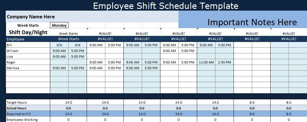 Employee Shift Schedule Template  Project Management Templates