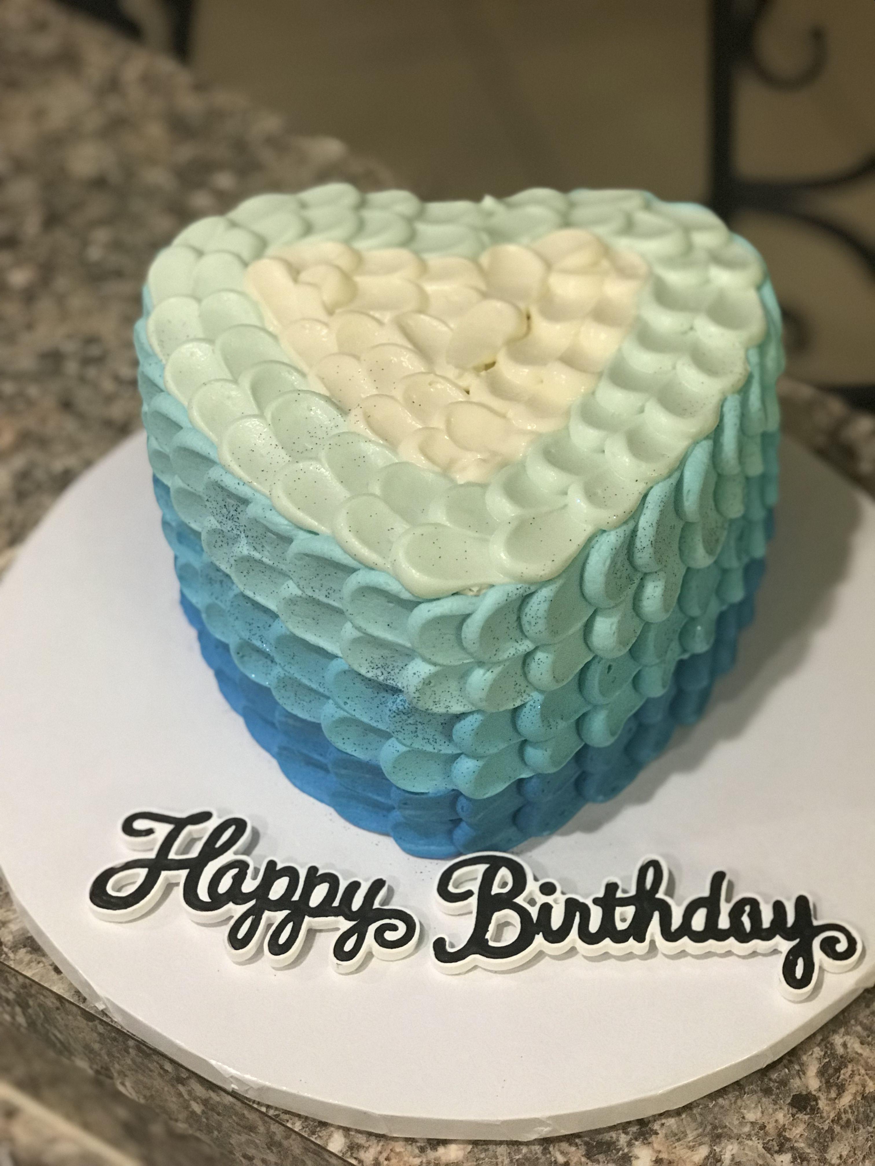 Blue Ombre Heart Shaped Cake Heart Shaped Cakes Heart Shaped Birthday Cake Cupcake Cakes