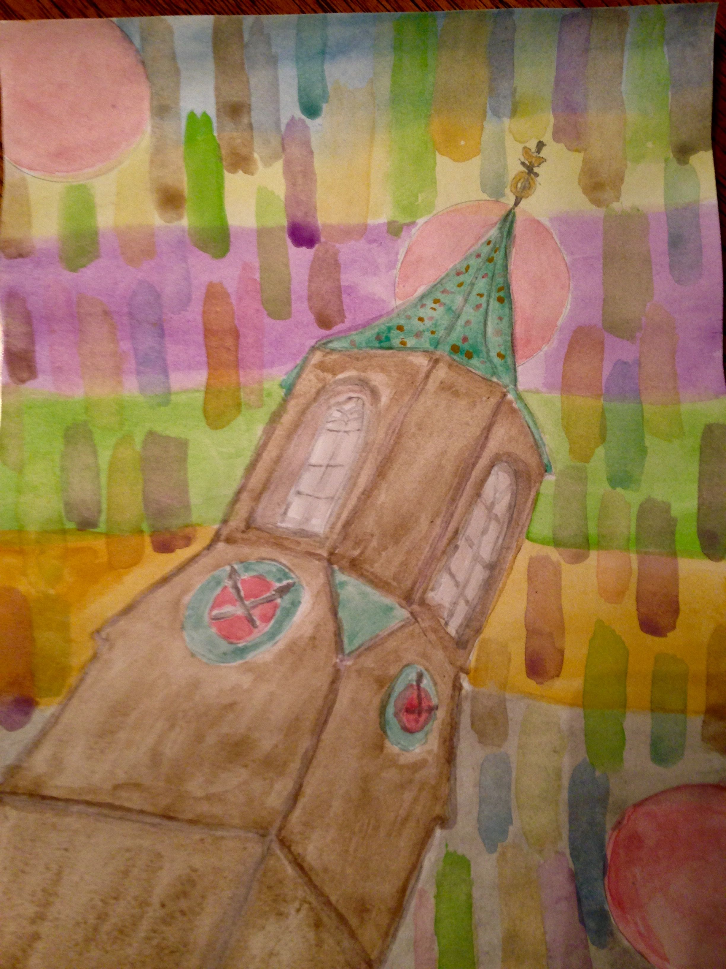 Watercoloring family history for my kids and grandkids. Church steeple of my childhood home town surrounded by shades of colors of the local crops